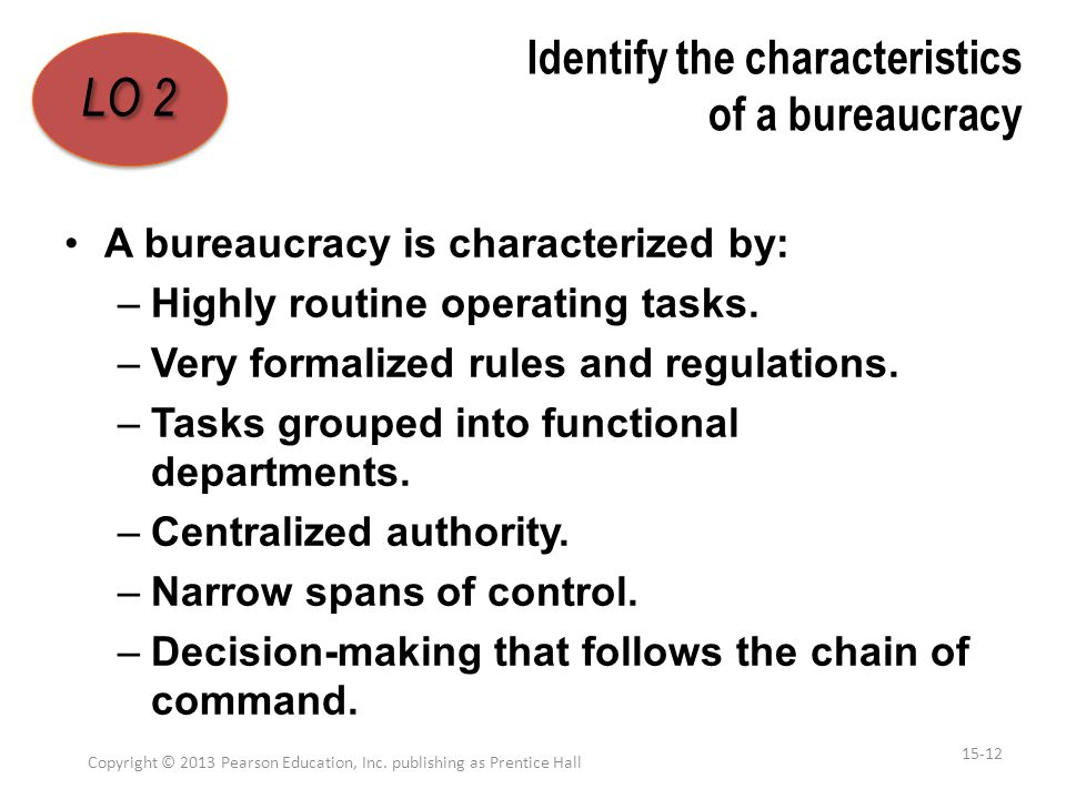 Identify the characteristics of a bureaucracy