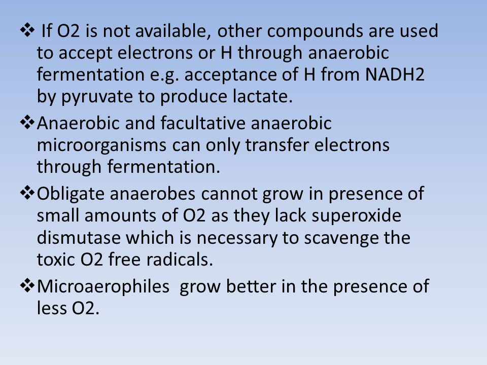 If O2 is not available, other compounds are used to accept electrons or H through anaerobic fermentation e.g. acceptance of H from NADH2 by pyruvate to produce lactate.