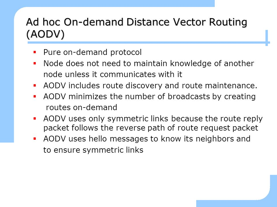 Ad hoc On-demand Distance Vector Routing (AODV)