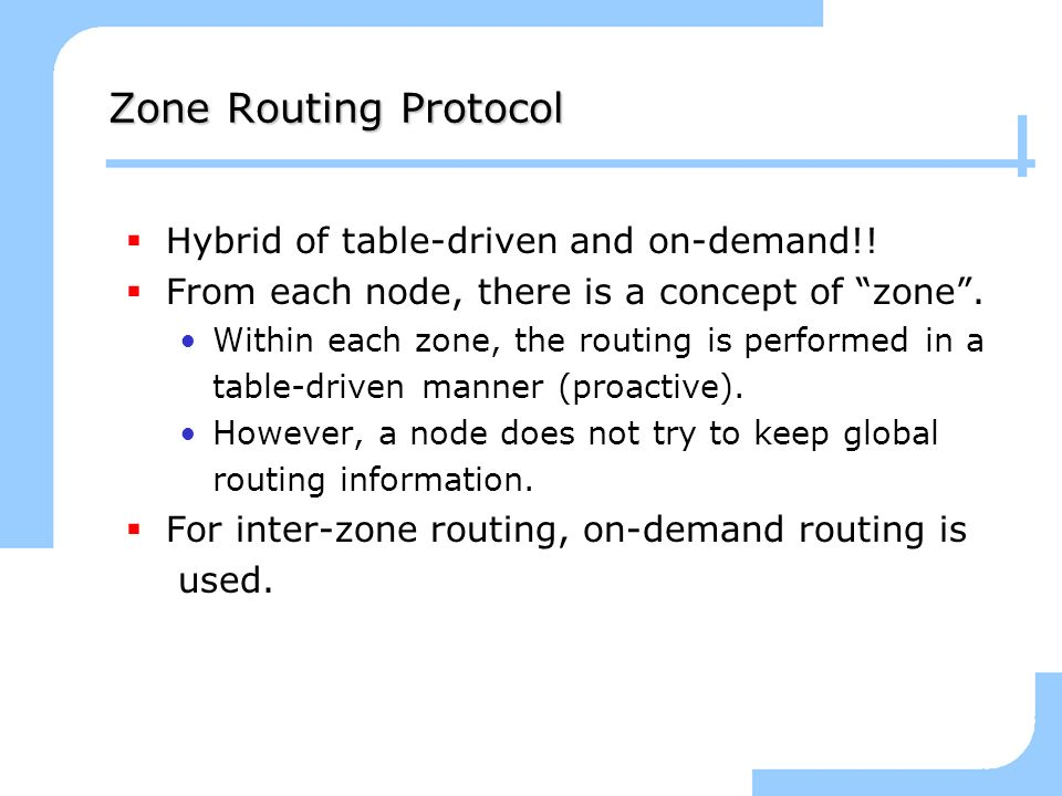 Zone Routing Protocol Hybrid of table-driven and on-demand!!