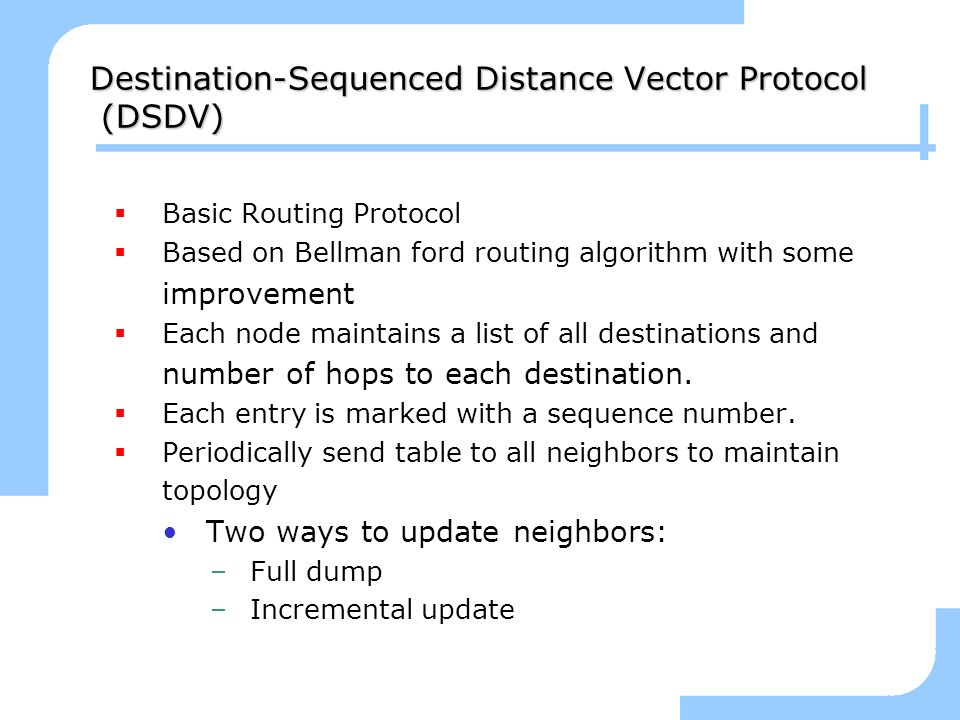Destination-Sequenced Distance Vector Protocol (DSDV)
