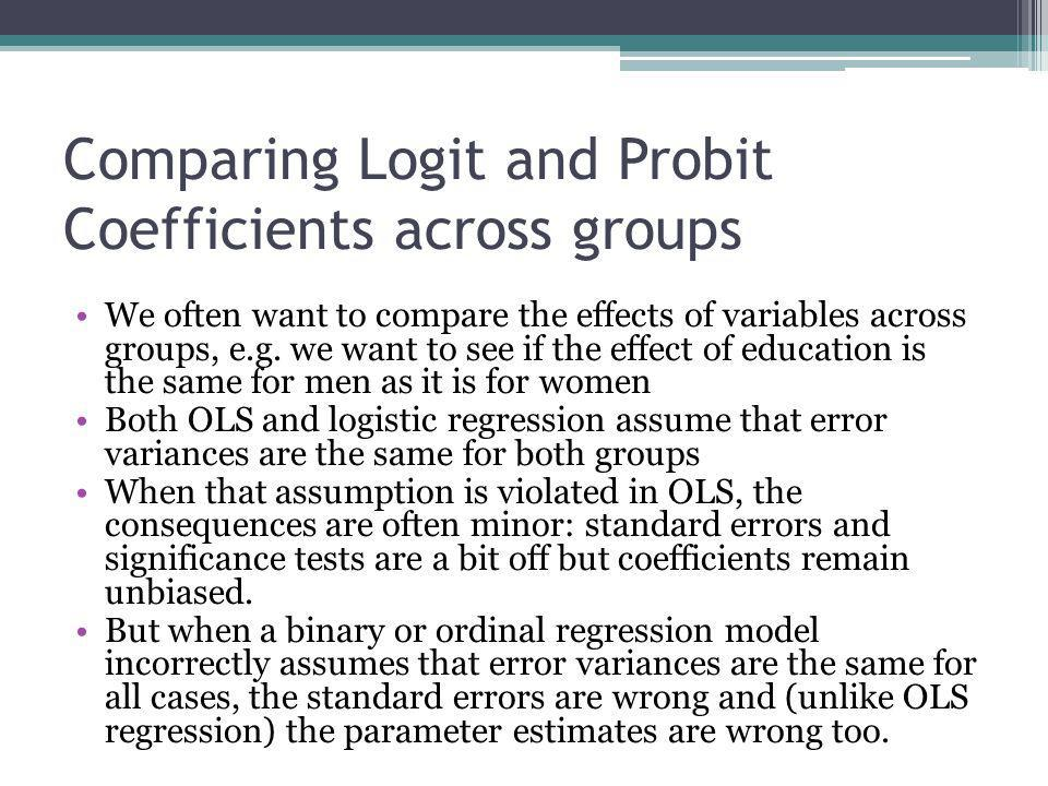 Comparing Logit and Probit Coefficients across groups