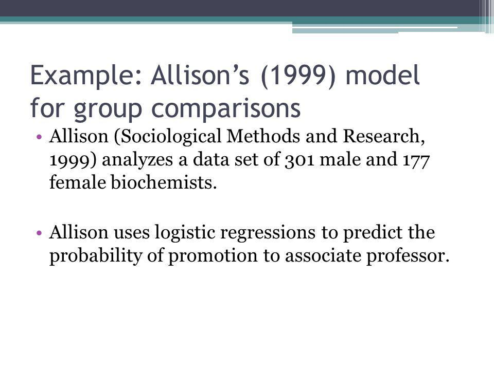 Example: Allison's (1999) model for group comparisons