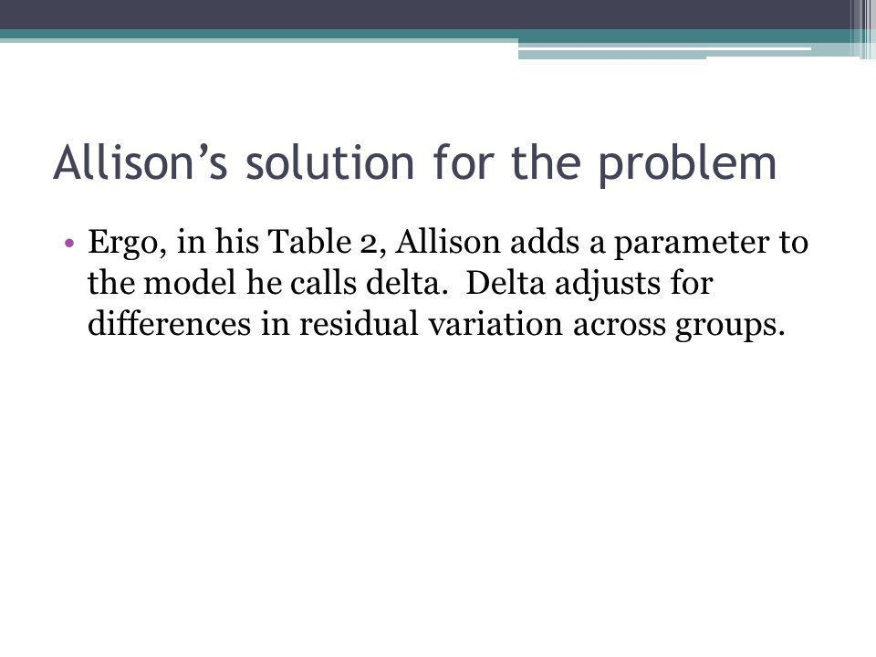 Allison's solution for the problem