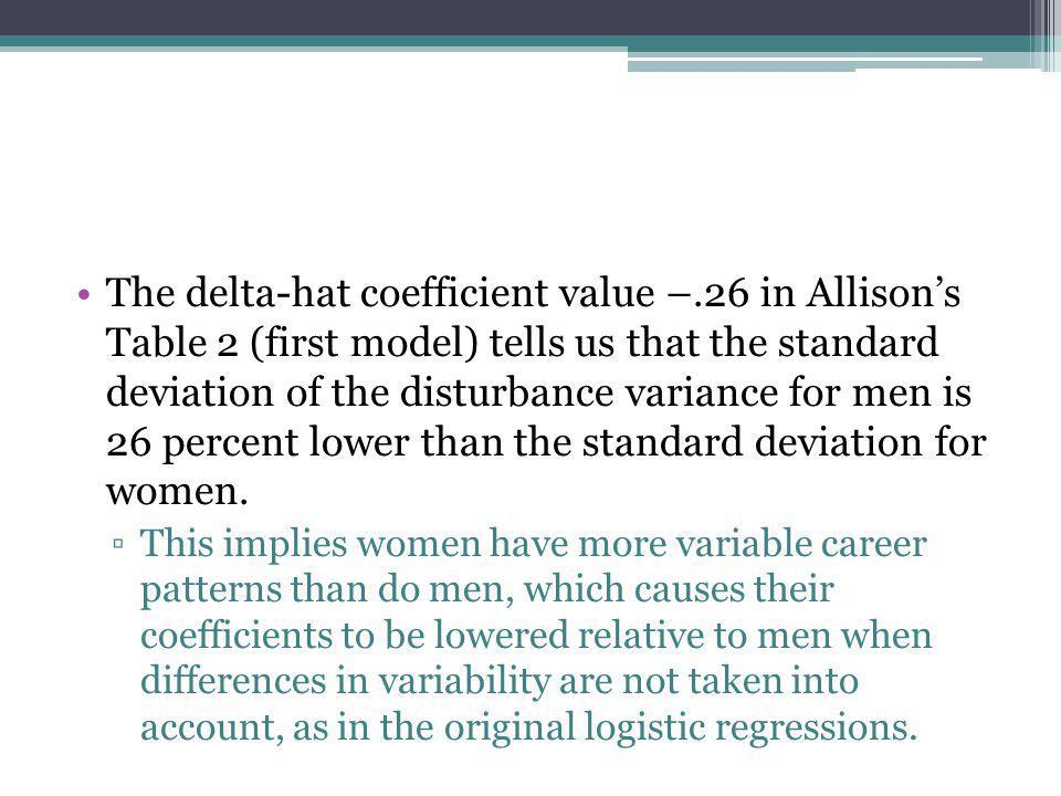 The delta-hat coefficient value –