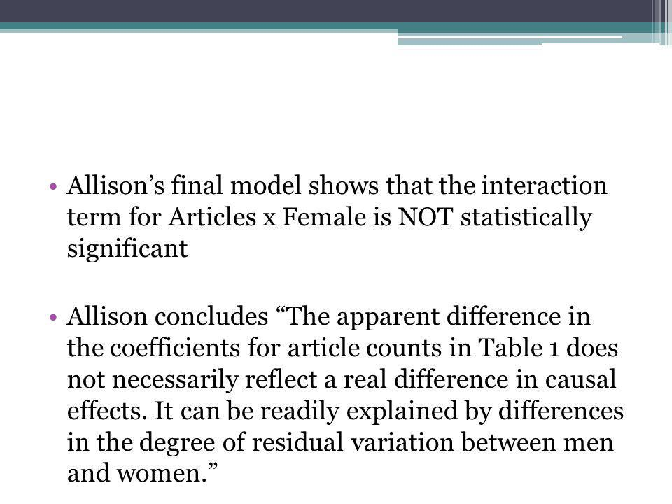 Allison's final model shows that the interaction term for Articles x Female is NOT statistically significant