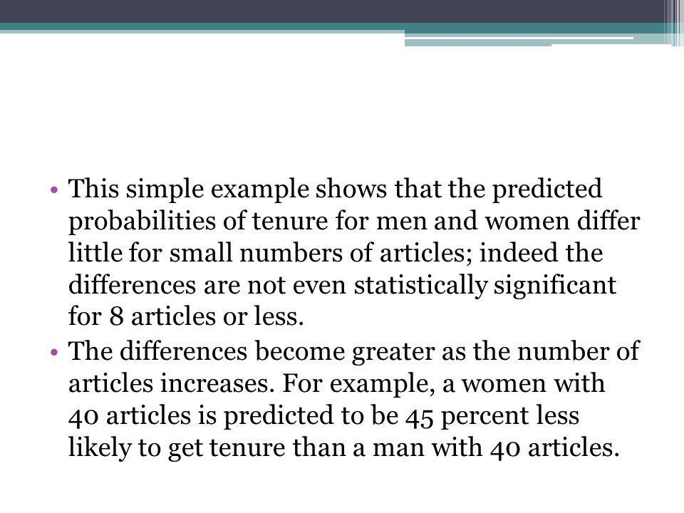This simple example shows that the predicted probabilities of tenure for men and women differ little for small numbers of articles; indeed the differences are not even statistically significant for 8 articles or less.