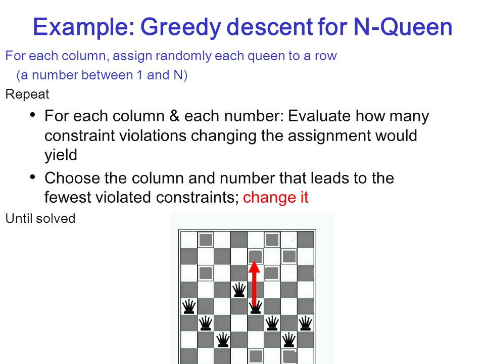 Example: Greedy descent for N-Queen