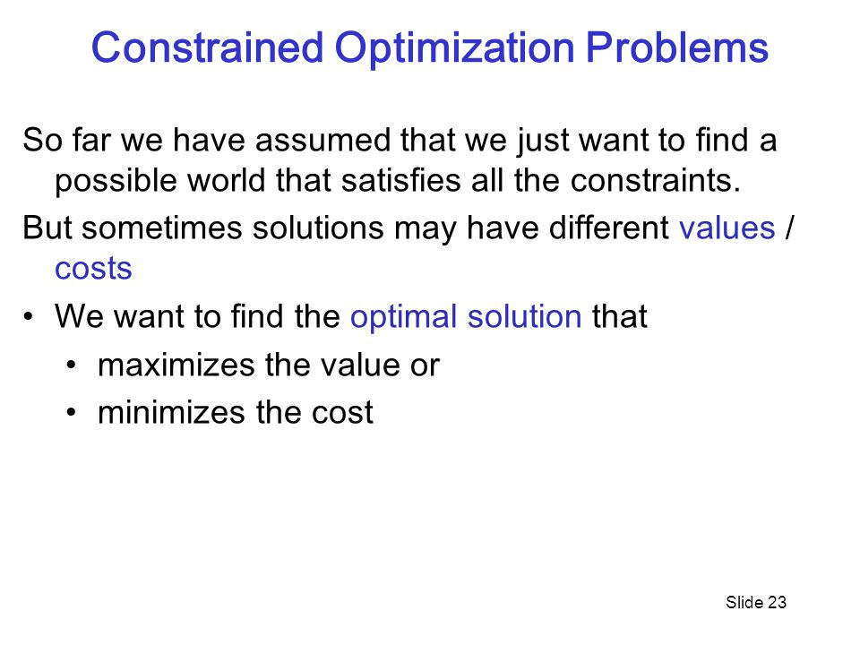 Constrained Optimization Problems