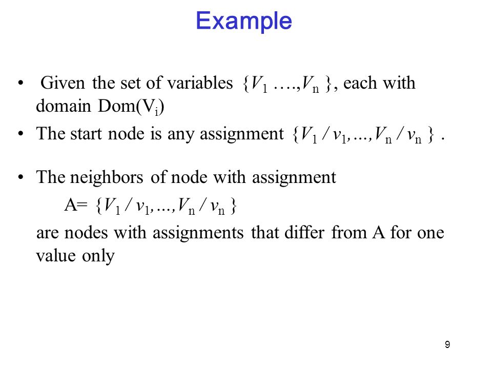 Example Given the set of variables {V1 ….,Vn }, each with domain Dom(Vi) The start node is any assignment {V1 / v1,…,Vn / vn } .