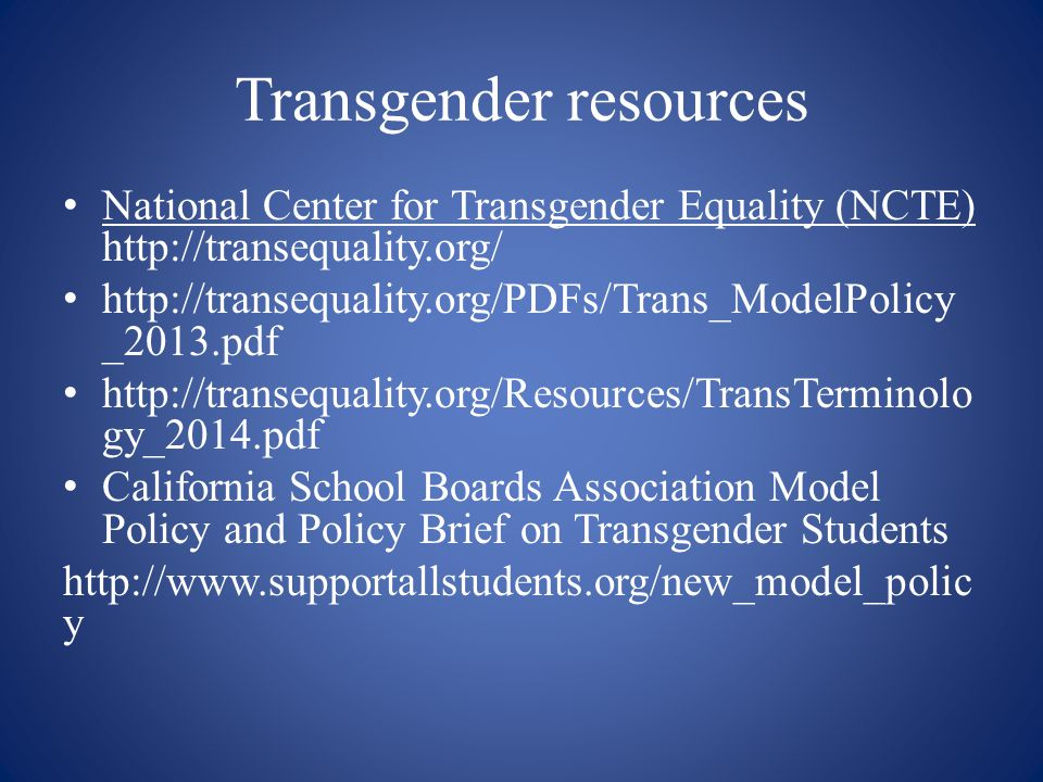 Transgender resources