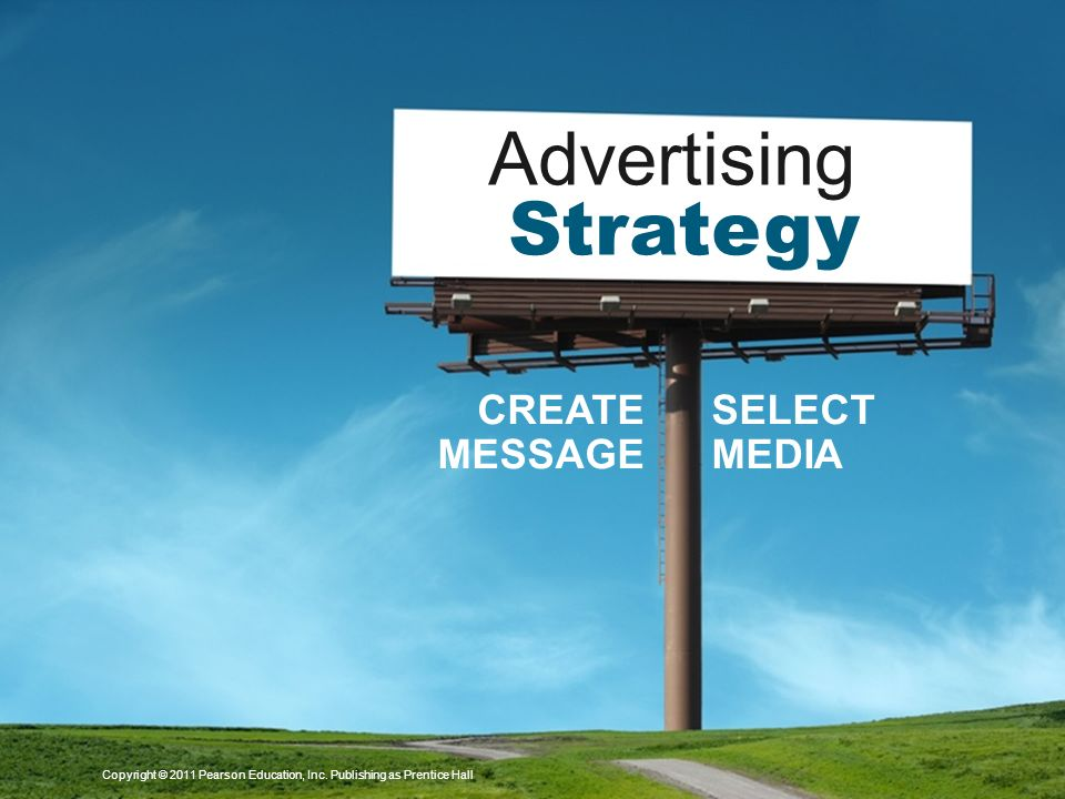 Advertising Strategy CREATE MESSAGE SELECT MEDIA