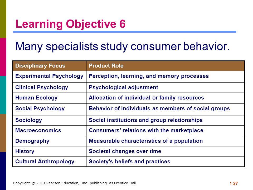 Many specialists study consumer behavior.