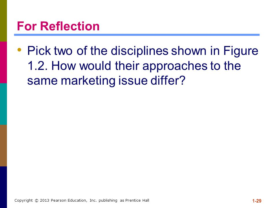 For Reflection Pick two of the disciplines shown in Figure 1.2. How would their approaches to the same marketing issue differ