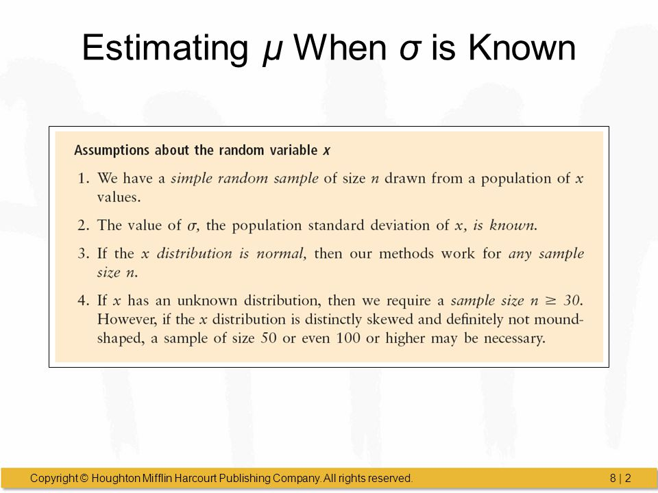 Estimating µ When σ is Known