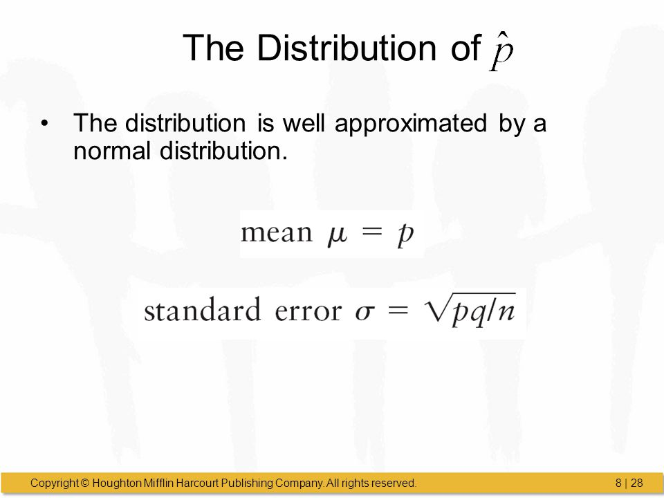 The Distribution of The distribution is well approximated by a normal distribution.