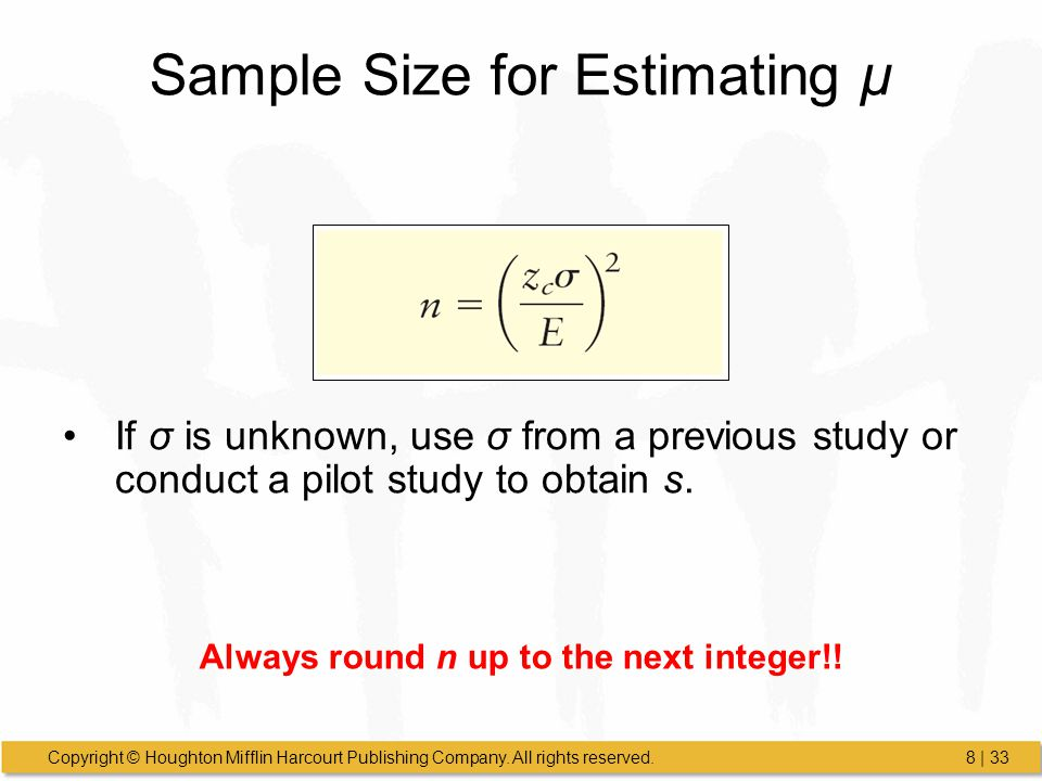 Sample Size for Estimating μ