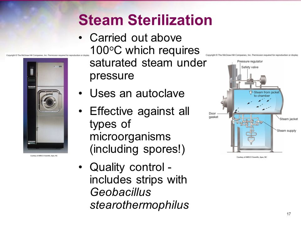 Steam Sterilization Carried out above 100oC which requires saturated steam under pressure. Uses an autoclave.