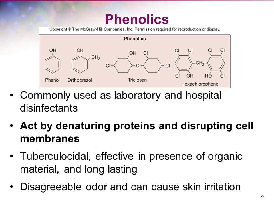 Phenolics Commonly used as laboratory and hospital disinfectants