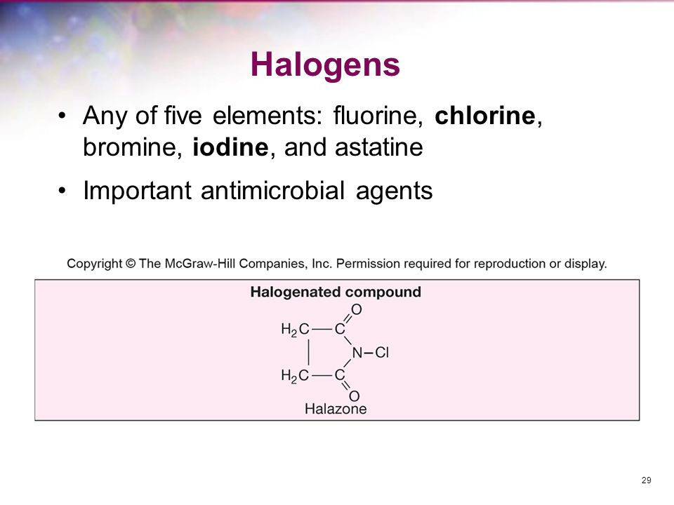Halogens Any of five elements: fluorine, chlorine, bromine, iodine, and astatine.