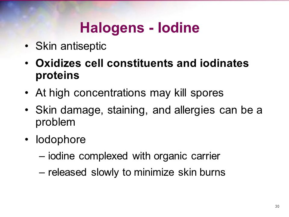 Halogens - Iodine Skin antiseptic