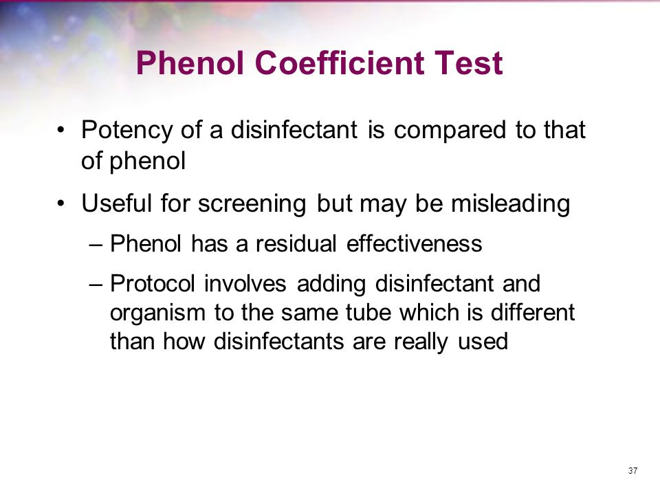 Phenol Coefficient Test