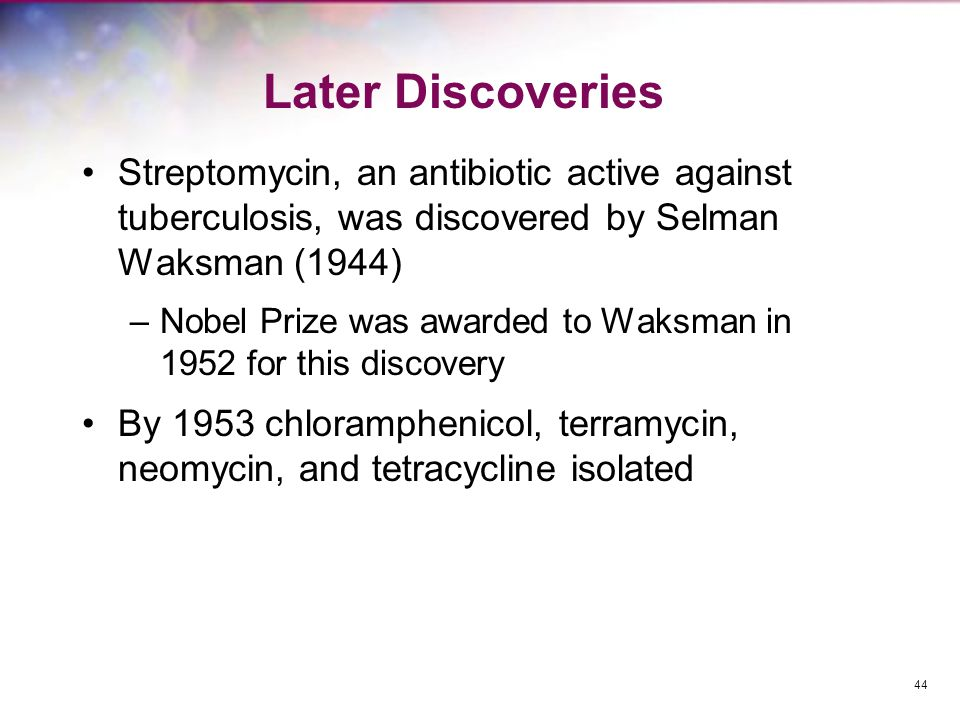 Later Discoveries Streptomycin, an antibiotic active against tuberculosis, was discovered by Selman Waksman (1944)