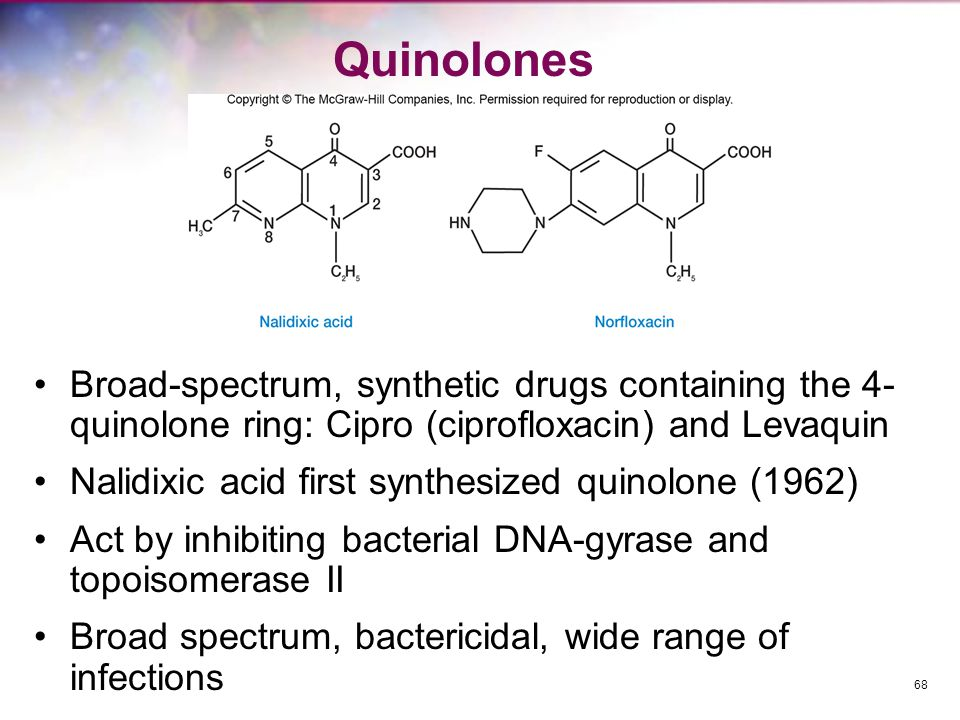 Quinolones Broad-spectrum, synthetic drugs containing the 4- quinolone ring: Cipro (ciprofloxacin) and Levaquin.