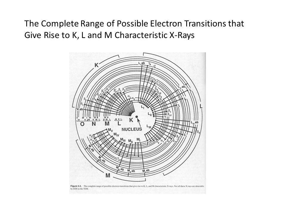 The Complete Range of Possible Electron Transitions that Give Rise to K, L and M Characteristic X-Rays