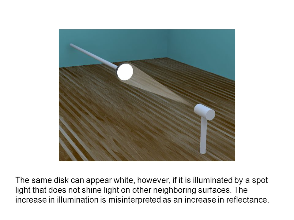 The same disk can appear white, however, if it is illuminated by a spot light that does not shine light on other neighboring surfaces.