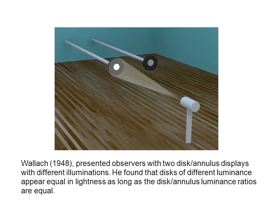 Wallach (1948), presented observers with two disk/annulus displays with different illuminations.
