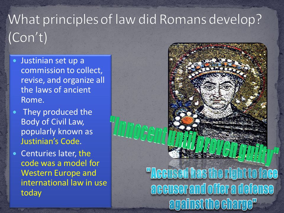 What principles of law did Romans develop (Con't)