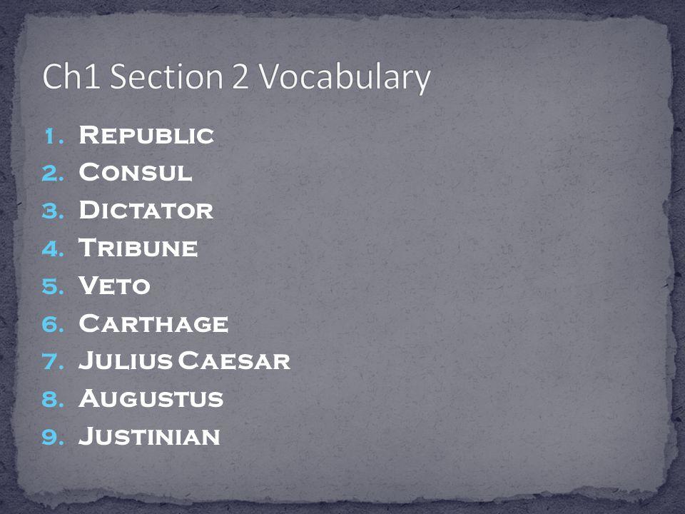 Ch1 Section 2 Vocabulary Republic Consul Dictator Tribune Veto