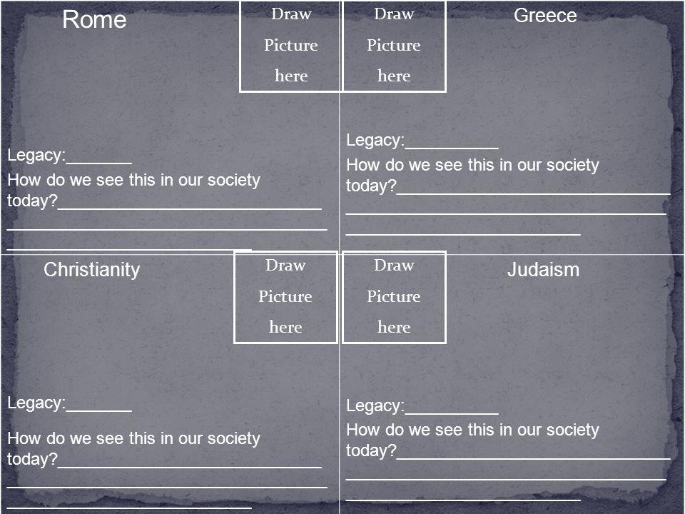 Rome Greece Christianity Judaism Legacy:_______