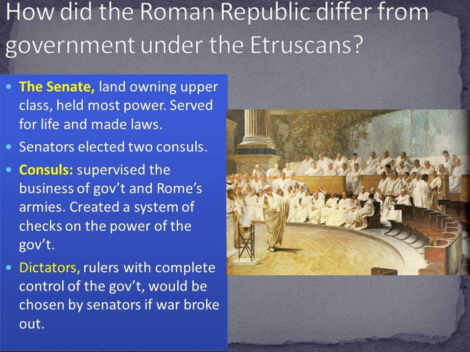How did the Roman Republic differ from government under the Etruscans