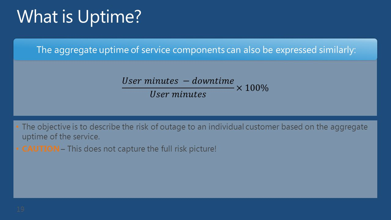 What is Uptime The aggregate uptime of service components can also be expressed similarly: 𝑈𝑠𝑒𝑟 𝑚𝑖𝑛𝑢𝑡𝑒𝑠 −𝑑𝑜𝑤𝑛𝑡𝑖𝑚𝑒 𝑈𝑠𝑒𝑟 𝑚𝑖𝑛𝑢𝑡𝑒𝑠 ×100%