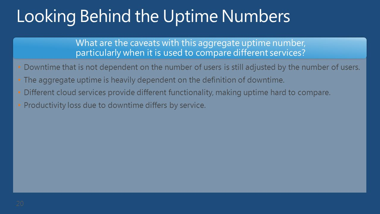 Looking Behind the Uptime Numbers