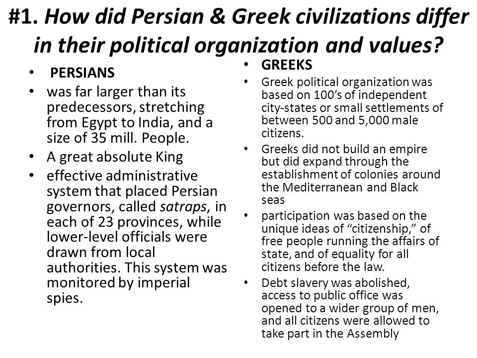 #1. How did Persian & Greek civilizations differ in their political organization and values