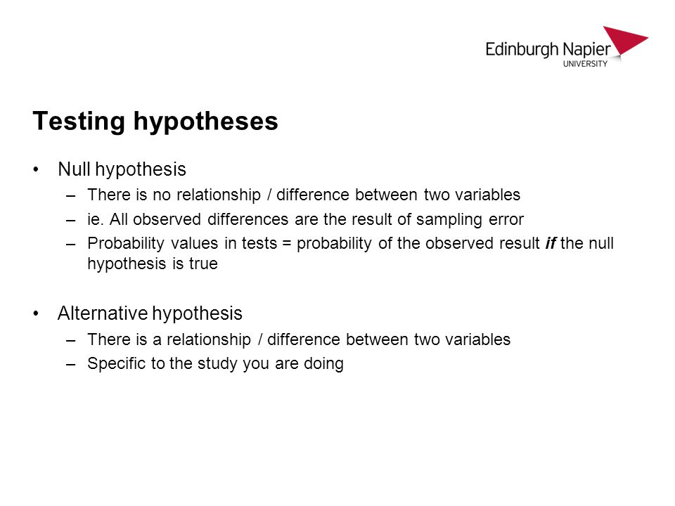 Testing hypotheses Null hypothesis Alternative hypothesis