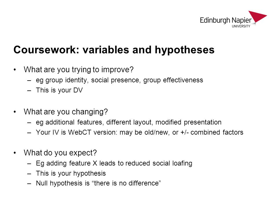 Coursework: variables and hypotheses