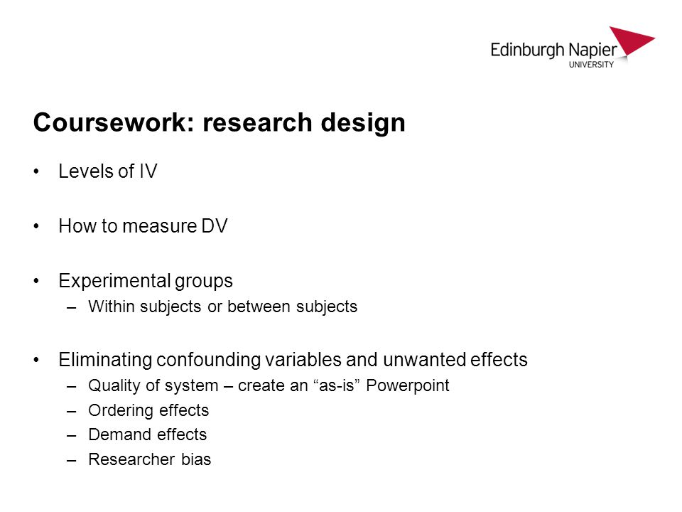 Coursework: research design
