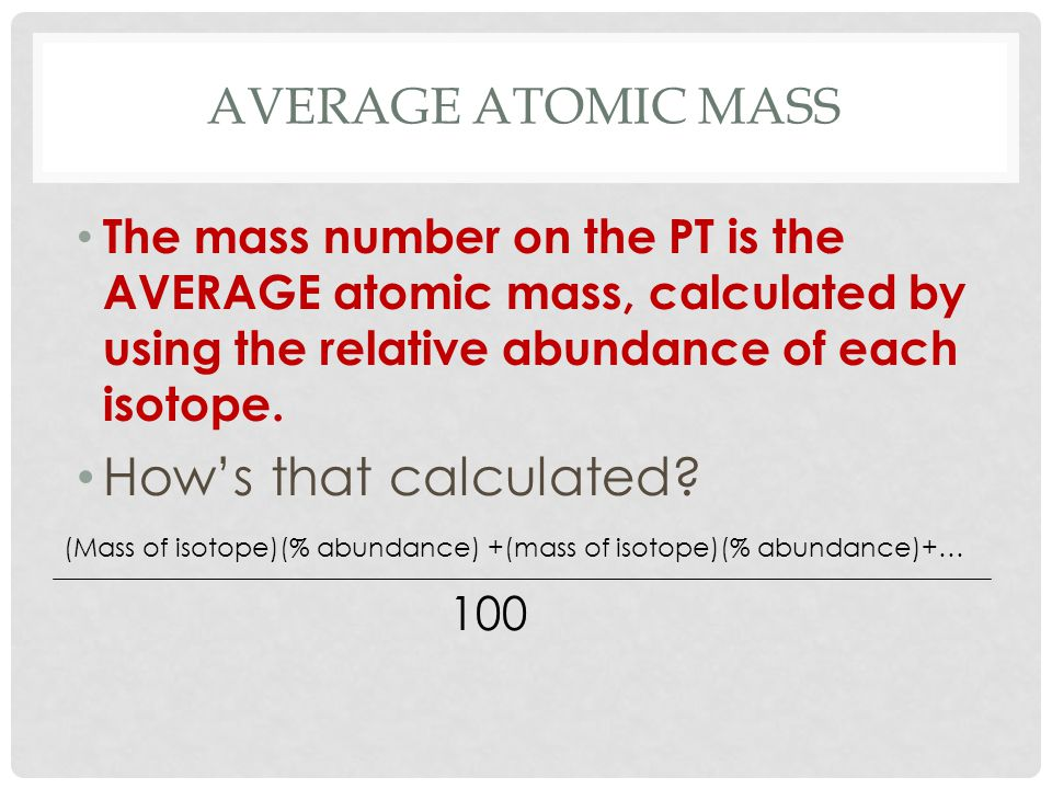 How's that calculated Average atomic mass