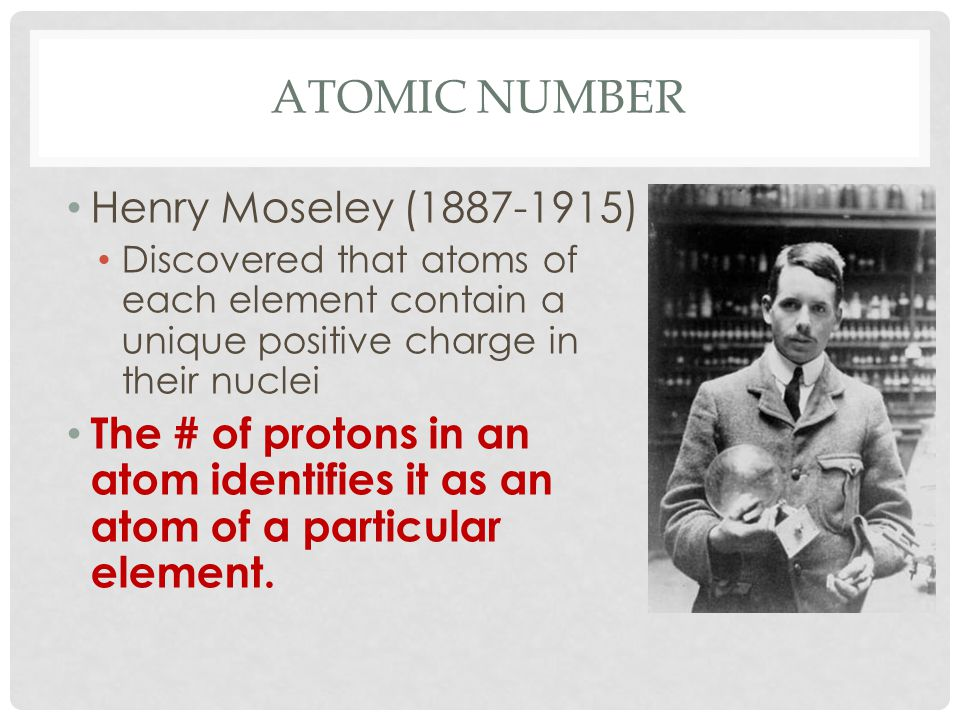 Atomic Number Henry Moseley (1887-1915)