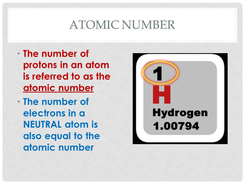 Atomic Number The number of protons in an atom is referred to as the atomic number.