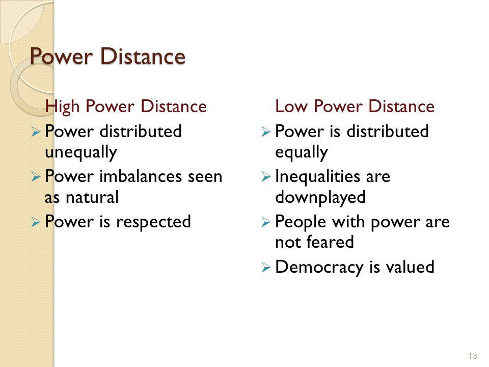 Power Distance High Power Distance Power distributed unequally