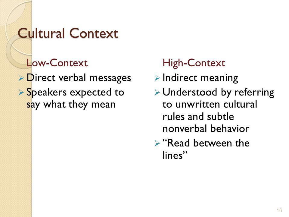 Cultural Context Low-Context Direct verbal messages