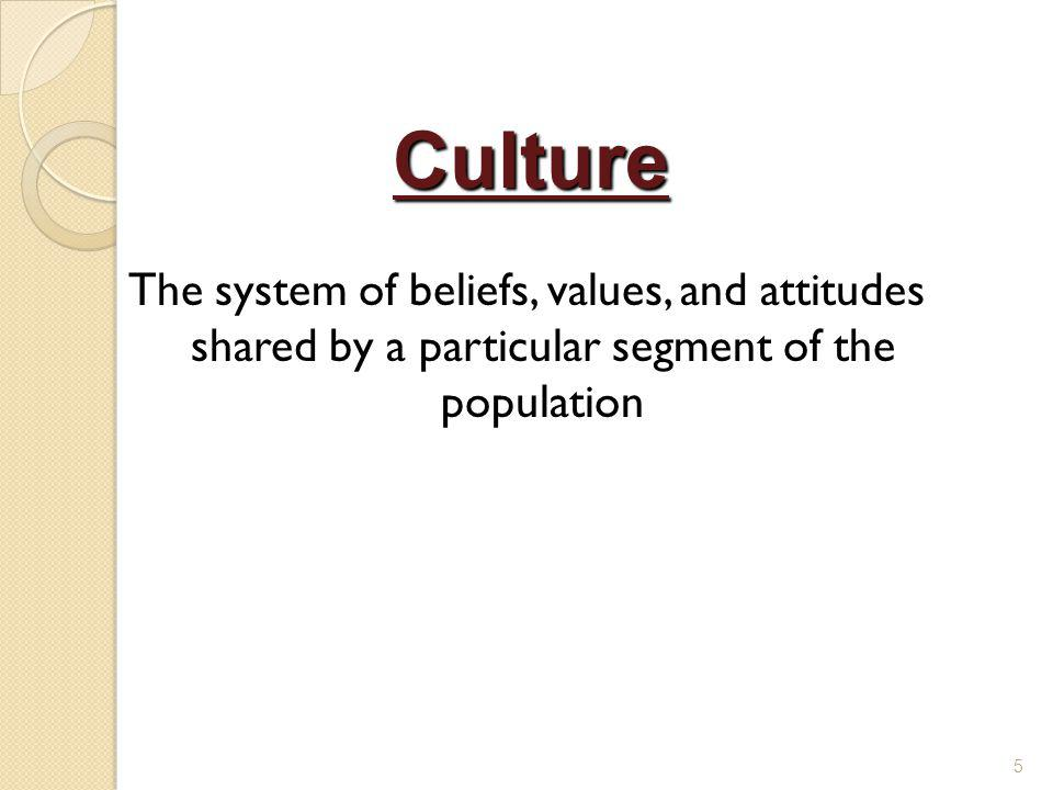 Culture The system of beliefs, values, and attitudes shared by a particular segment of the population.