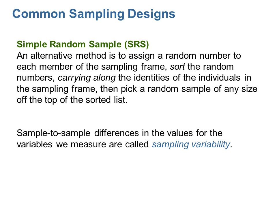 Common Sampling Designs