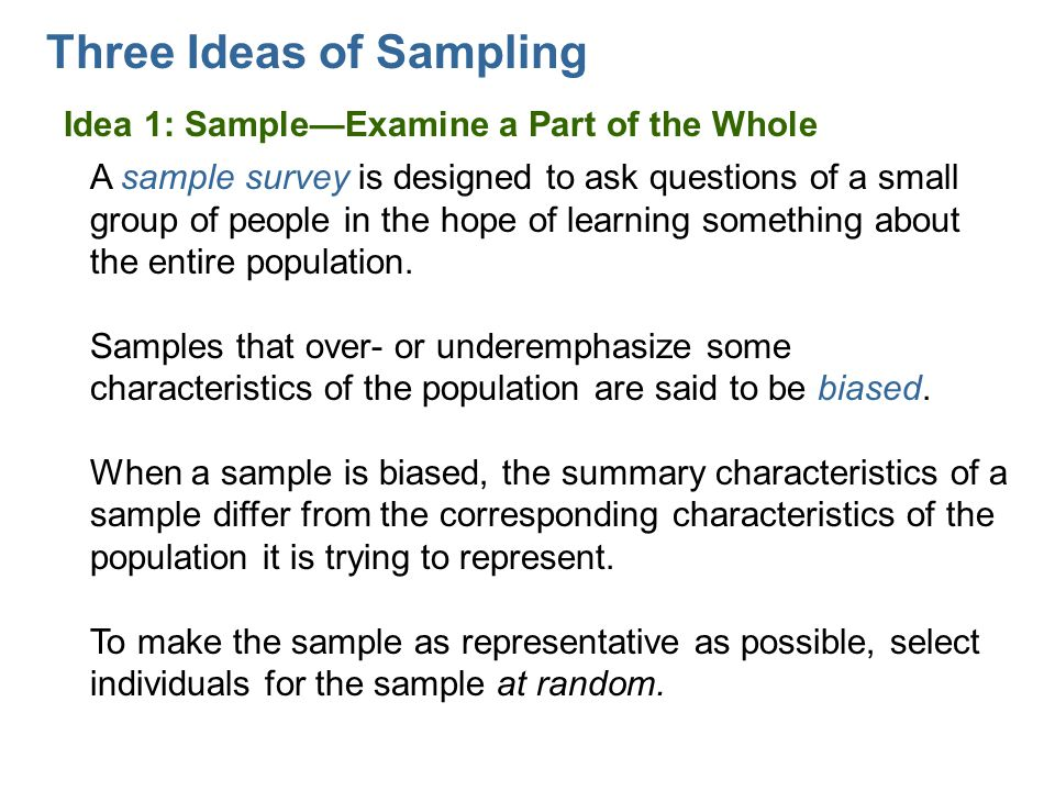 Three Ideas of Sampling