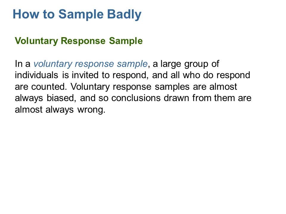 How to Sample Badly Voluntary Response Sample